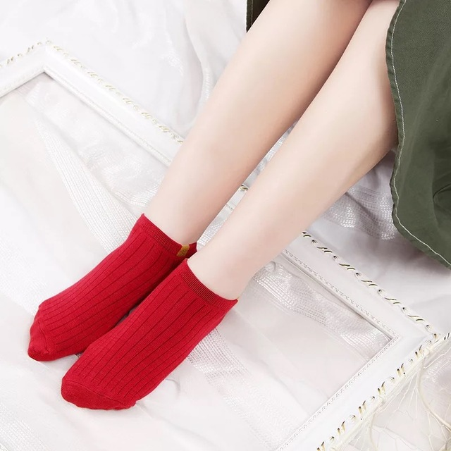 Sale Items Japanese Fashion Harajuku Trends Women Ankle Socks Candy Color Woven Lable Patterns Casual Street Socks 4