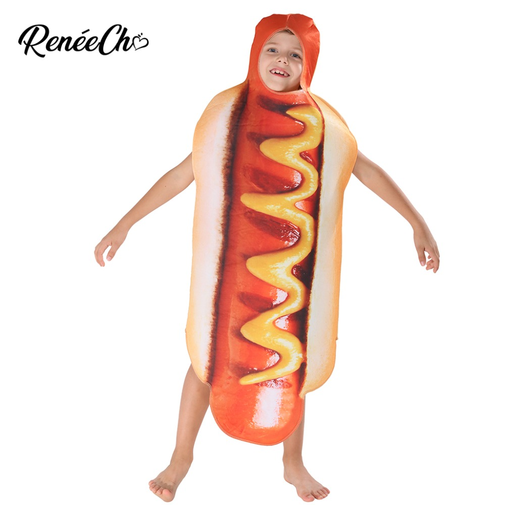 Halloween Costume For Girls Kids Hot Dog Costume Boys Costume For Carnival 2018 Funny Child Hotdog Cosplay Tunic Halloween Kids