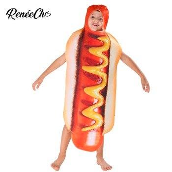 Kızlar Için cadılar bayramı Kostümü Çocuklar Hot Dog Kostüm erkek kostüm karnaval için 2018 komik çocuk hotdog cosplay tunik cadılar bayramı çocuklar