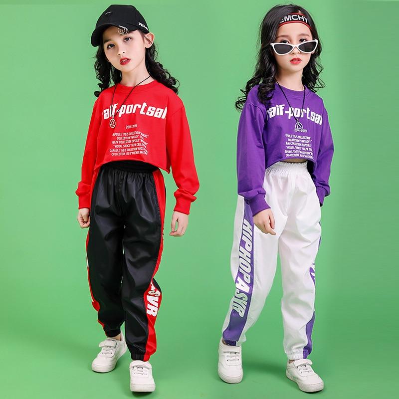 Children Hip Hop Clothing Sweatshirt Top Crop Shirt Casual Pants For Girls Kid Jazz Dance Costume Ballroom Dancing Clothes Wear