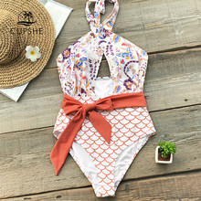 Cupshe Orange Sabuk Wrap One-Piece Swimsuit Wanita Cross Kaki Tinggi Cut Monokini Pantai Mandi Suit 2019 Gadis Boho baju Renang(China)