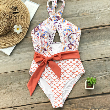 c1f350908f7b Traje de baño de una sola pieza de cinturón de abrigo de naranja para mujer  corte de pierna alta Monokini playa traje de baño 2019 chica Boho baño