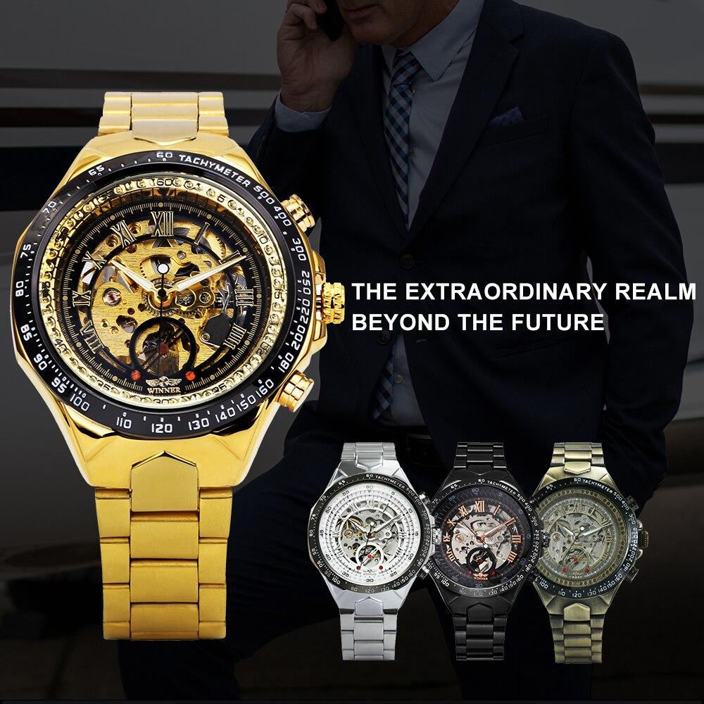 WINNAAR gouden horloges mannen sport militaire skeleton polshorloges - Herenhorloges - Foto 2