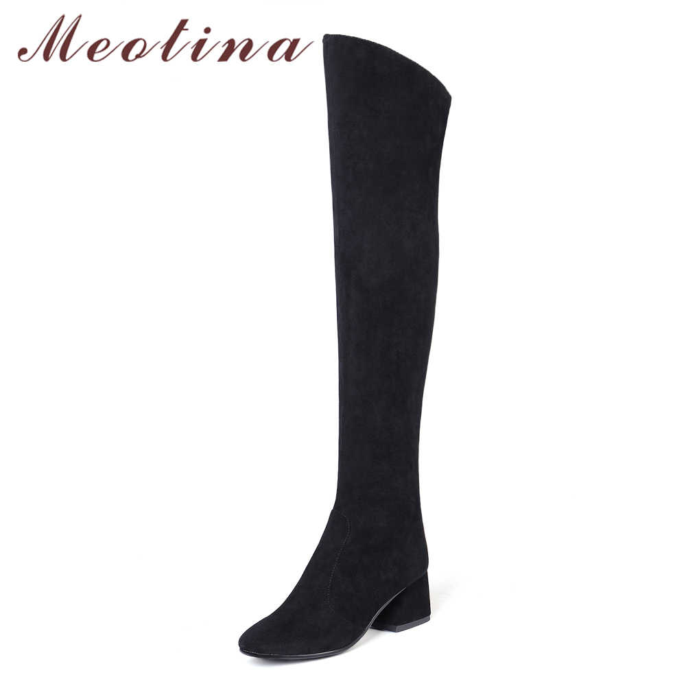 Meotina/женские сапоги Зимние ботфорты на толстом каблуке высокие сапоги на высоком каблуке с квадратным носком обувь на молнии 2018 г. Женская обувь, большие размеры 34-43