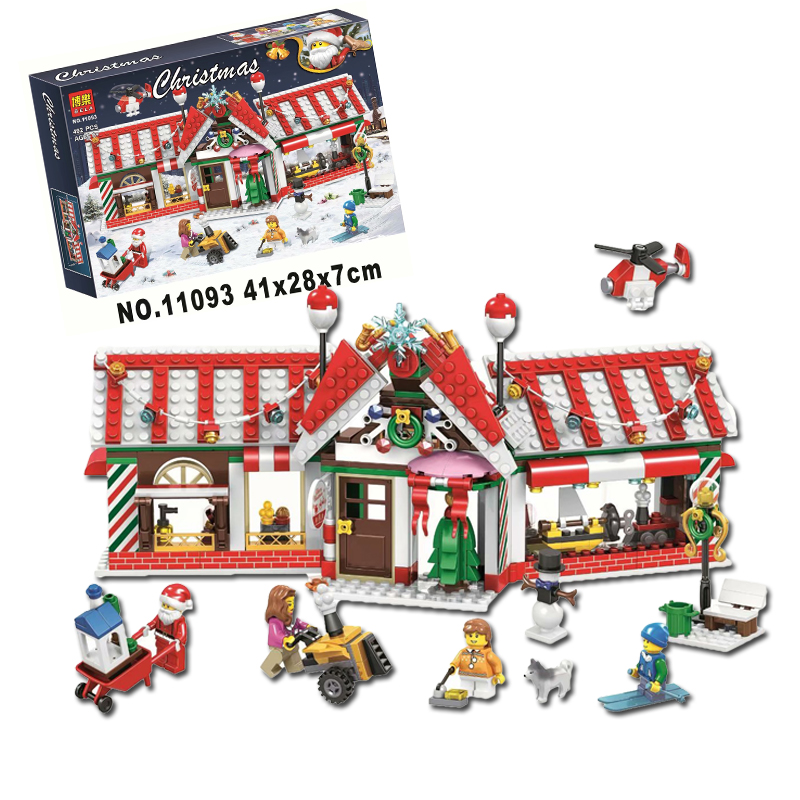 2019 New Year Christmas Gift House Store Advent Calendar Santa Claus Mode 492Pcs Building Blocks Toys Compatible with Legoings