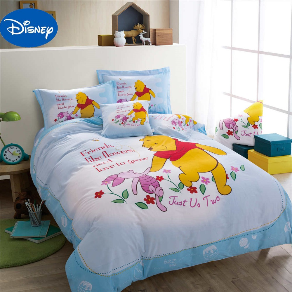 Winnie the Pooh Piglet Comforter Bedding Sets SingleTwin Full Queen Boys Home Bed Covers Disney Cartoon 100% Cotton Light Blue
