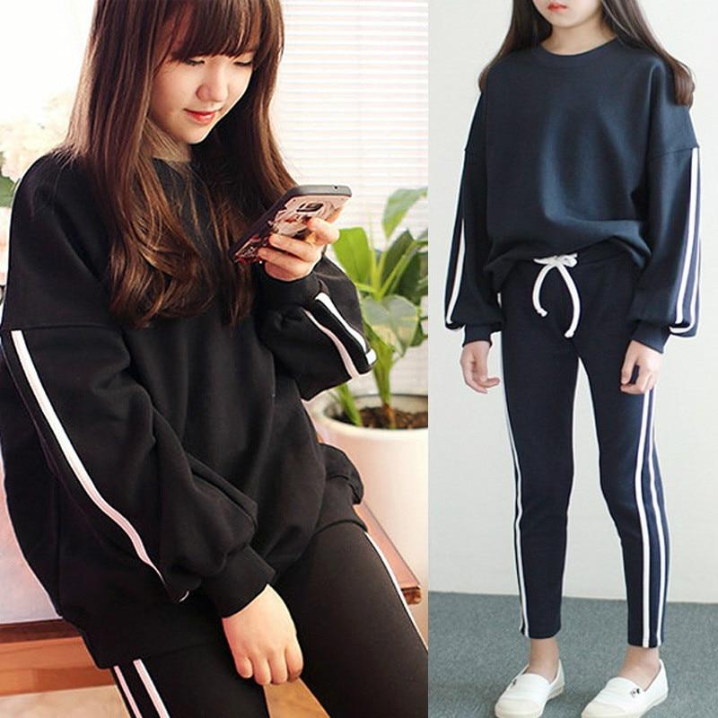 2018 Autumn Girls Clothes Sets Cotton Long Sleeve Striped Hoodies + Trousers 2pcs Girls Clothing Sets Kids Sport Clothes CC495 все цены