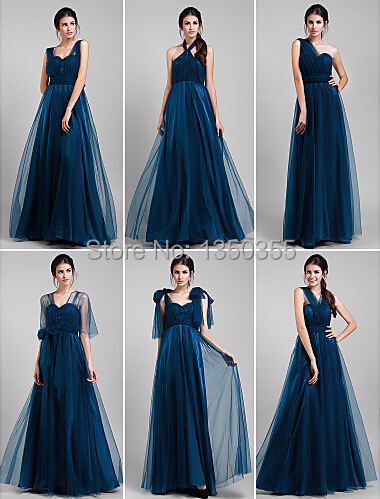 Stylish Royal Blue Tulle Bridesmaid Dress Convertible For Wedding Party With Bow Free