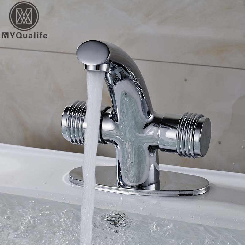Free Shipping Wholesale and Retail Bathroom Sink Mixer Faucet tap Dual Handle Curved Shape Basin Hot and Cold Mixers