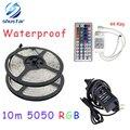 10 M rgb tira conduzida 5050 impermeável 2*5 m smd iluminação de tira + 44 chave controle remoto IR + DC12V Power Adapter 5A WLED53