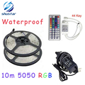 10M rgb led strip 5050 waterproof 2*5m smd strip lighting +44 key IR remote controller +DC12V 5A Power Adapter WLED53