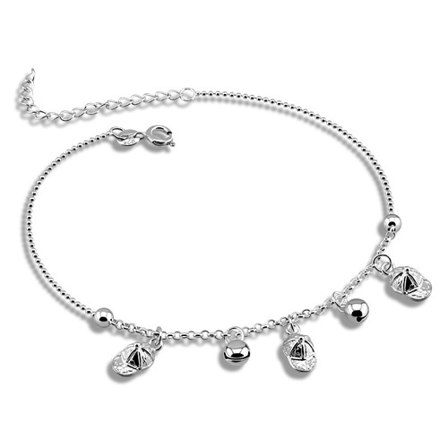 Solid genuine 925 sterling silver bell lady s anklet