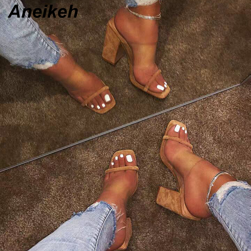 Aneikeh New 2019 Fashion Serpentine PVC High Heels Transparent Slippers Open Toe Thick Heel Women Shoes Pumps Slippers apricot