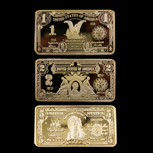 3pcs/set  Exquisite 1/2/5 Dollar 1899 Golden Rectangle Commemorative Coin Collection Arts Gifts Souvenir Gold