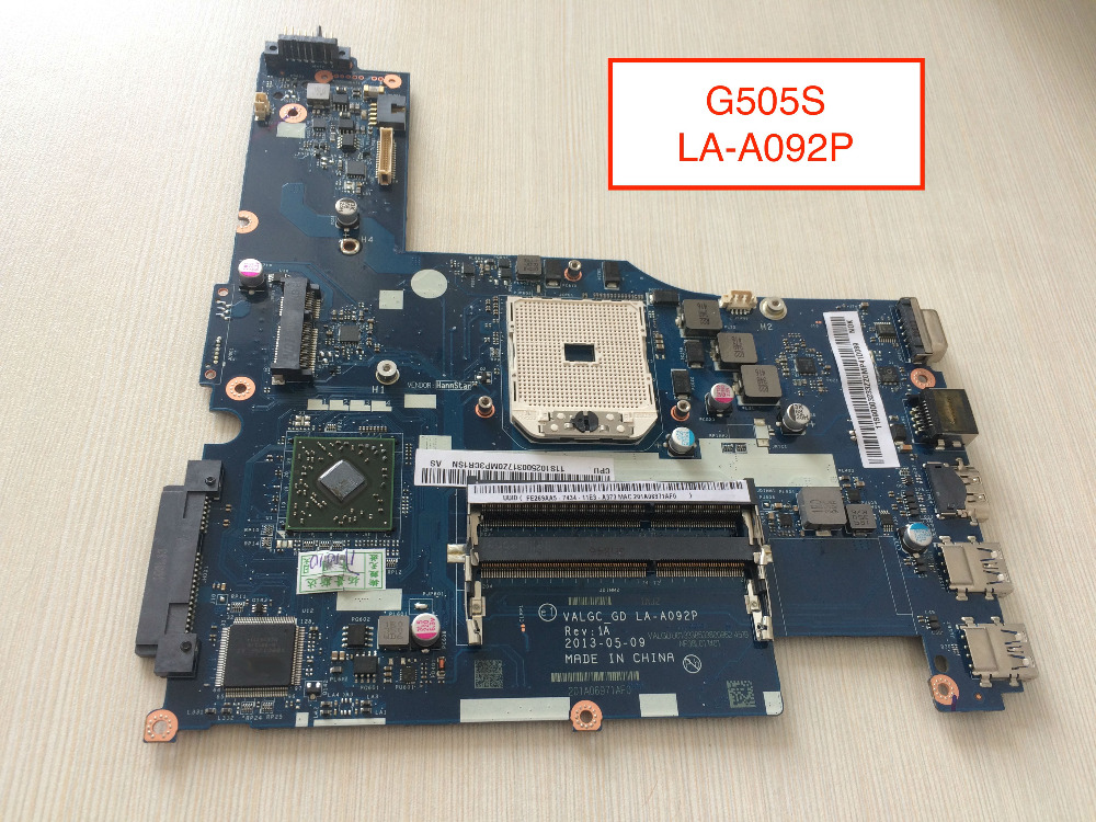 Brand New Laptop Motherboard For Lenovo G505s  VALGC_GD LA-A092P brand new ziwb2 ziwb3 ziwe1 la b092p rev 1 0 for b50 70 laptop motherboard mainboard with with sr1ek core i3 4005u