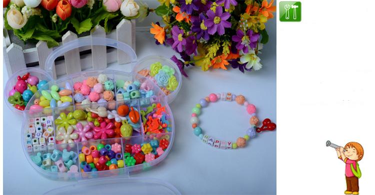 Children DIY Plastic Acrylic Bead Kit Girl Toys DIY Beaded Handmade Bracelet Amblyopia Training Color Puzzle Early Education Toy (18)