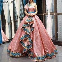 الراقية الأحمر الفول واحد الكتف مثير فساتين الزفاف 2020 صور حقيقية الترتر الزهور الصناعية ثوب العروس 66738 مخصص
