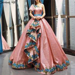 Image 1 - High end Red Bean One Shoulder Sexy Wedding Dresses 2020 Real Photo Sequin Handmade Flowers Bride Gown 66738 Custom Made