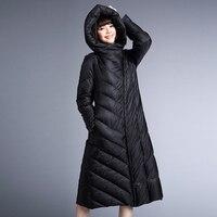 YNZZU Snow Winter Down Jacket Women Coat Anorak 90% White Duck Down Long Hooded Black Zipper Loose Jacket YO171