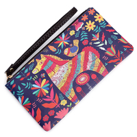 New Fashion Doodle China Drama Horse Flower Bird Zipper Lady Wallet Opera Soft Women Clutch Mobile