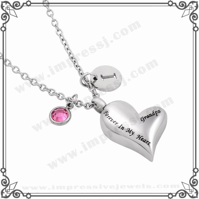MJD8032 Personalizada BirthStone Abuelo Siempre En Mi Corazón Collar de Joyas Cremación Urna Conmemorativa de Recuerdo