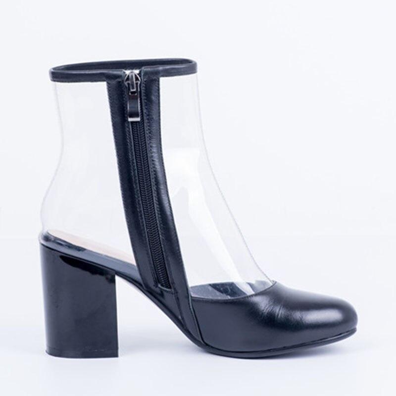 Casual Negro 45 De Tamaño Tpu Alto La Oficina Otoño Plus 35 Fiesta 2019 Zapatos blanco Tacón Zip Nuevo Botas Mujer Sarairis Primavera Tobilleras qxSwZv1