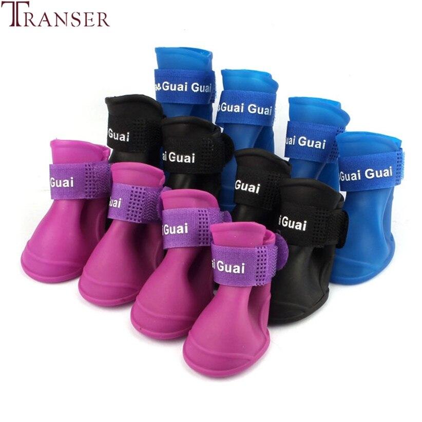 Transer Pet Supply Anti-Slip Waterproof Soft Rubber Pet Dog Rain Shoes Boots 80704