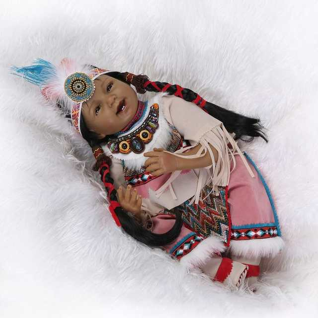 placeholder Silicone Reborn Baby Doll Toys Native American Indians Black  skin Newbabies Reborn Child Girls Brithday Present a8f1a85fa16b