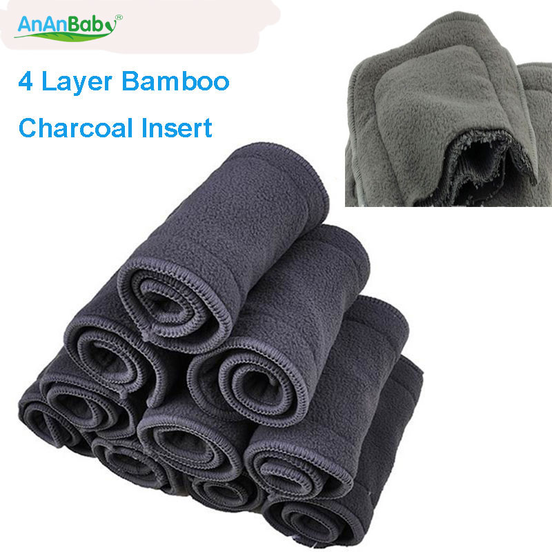 Free Shipping 4 Layers New Super Absorbent Bamboo Charcoal Cloth Diaper Inserts Diaper Liners 10pcs Changing Pads