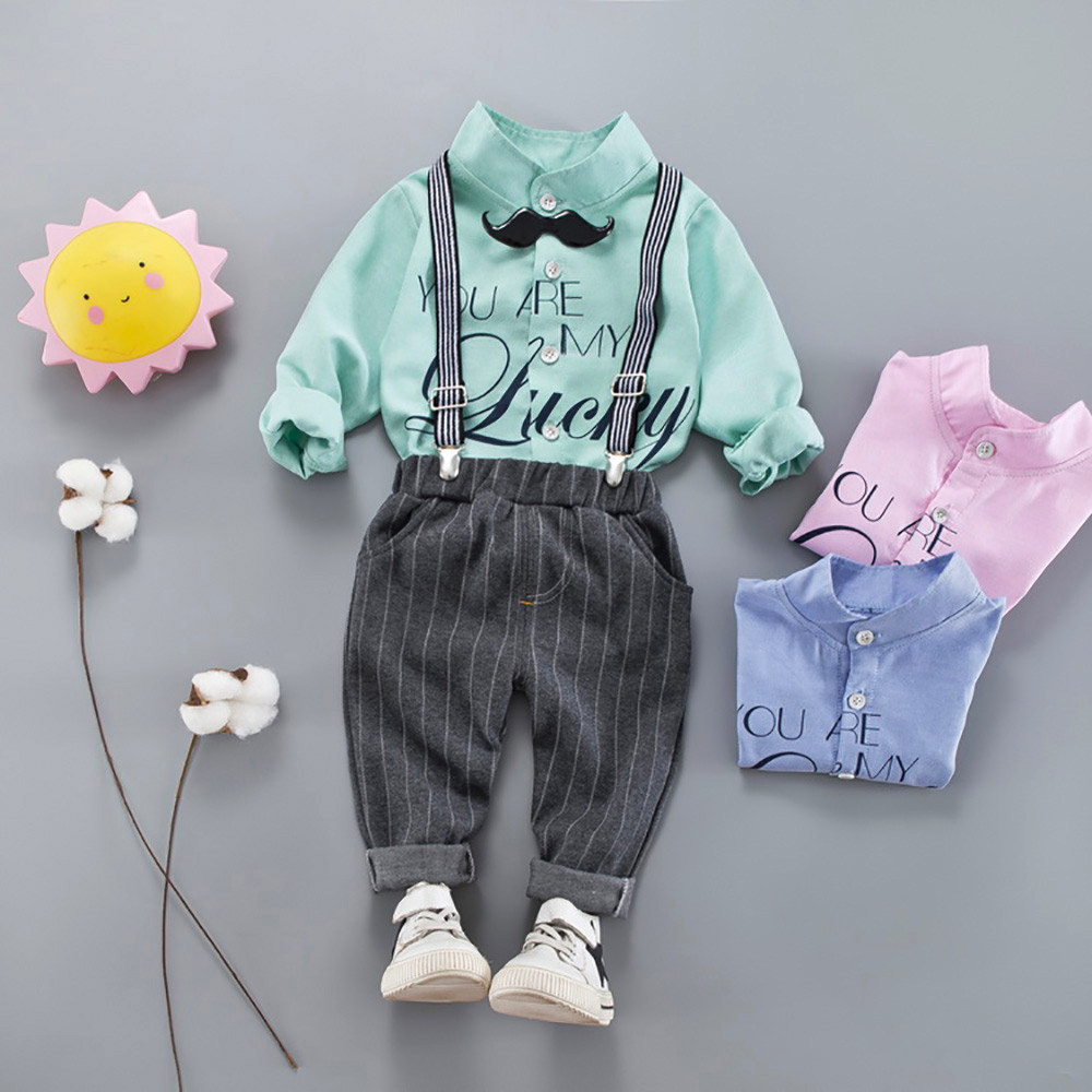 Branded 3Pcs Infant Toddler Baby Boys Letter Tops Shirt+Pants+Belt Outfits Trouser Set Casual Outfit For Baby Boys And Girls