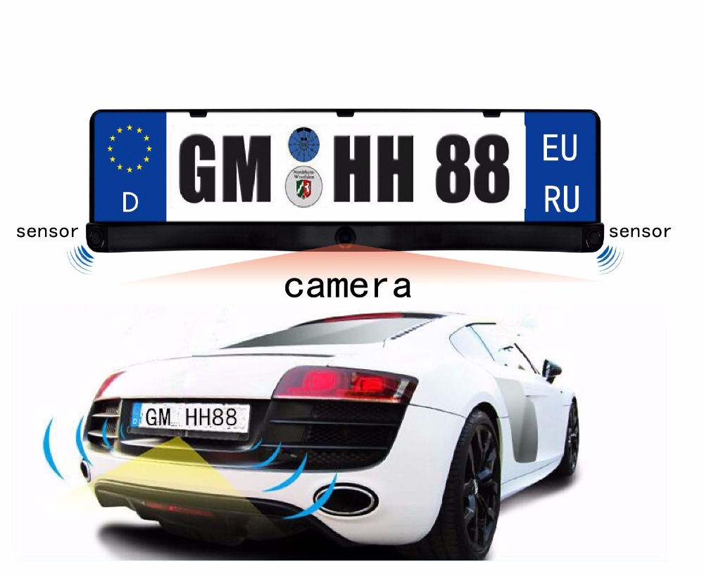 EU European Russia Car License CCD Rear Front View Camera Plate Frame Parking Camera Two Reversing