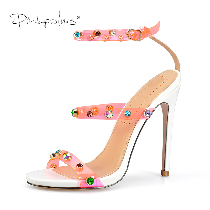 Pinkpalms Shoes Women Sandals Celebrity Wearing Trend 2019 PVC Clear Transparent Strappy Heels Rhinestone Sandals High