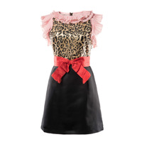 LIENZY 2018 Summer Vintage Dress Female Sleeveless O Neck Patch Work Leopard Ruffle Bow Lace Up