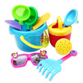 2015 Novas Crianças brinquedos de praia de areia ampulheta Pá Balde Molde Conjunto de Ferramentas 9 pçs/set areia ferramenta de jogo Brinquedo