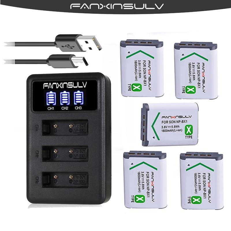 5X NP BX1 NP-BX1 Batterie + 3-Slots chargeur LED pour Sony DSC RX100 M6 M5 M4 M3 M2 CX405 CX240E PJ410 HX300 HX400 HX50 HX60 GWP88