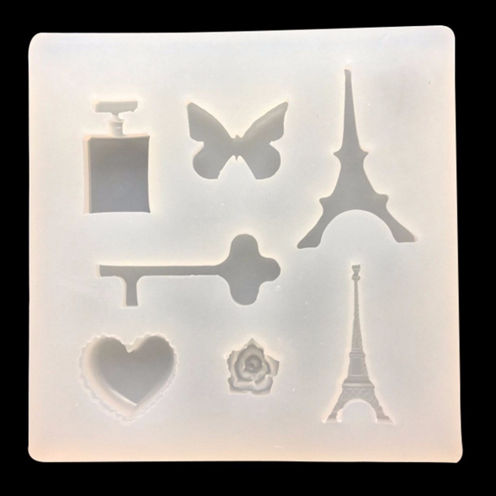 DIY enamel silicone mold jewelry mold trumpet iron key butterfly perfume bottle love resin epoxy charms making mold household product plastic dustbin mold makers
