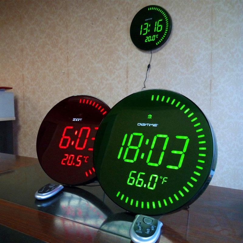 Украшение для дома большой декоративный круглый стол часы Красный Зеленый 3d креативный Круглый Большой светодиодный цифровые настенные часы современный дизайн - 2