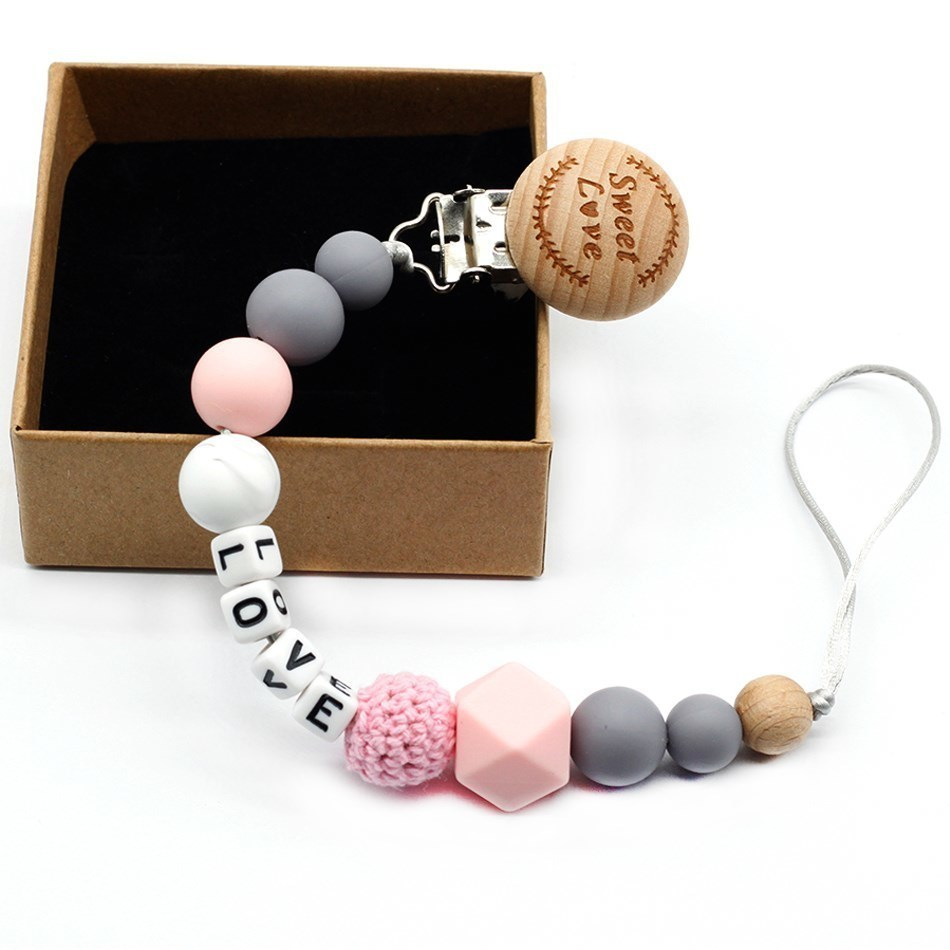 9 Styles Holder Personalized Name Silicone Beech Wood Baby Pacifier Clips Baby Teething Bracelet Play Gym Toy Baby Shower Gifts