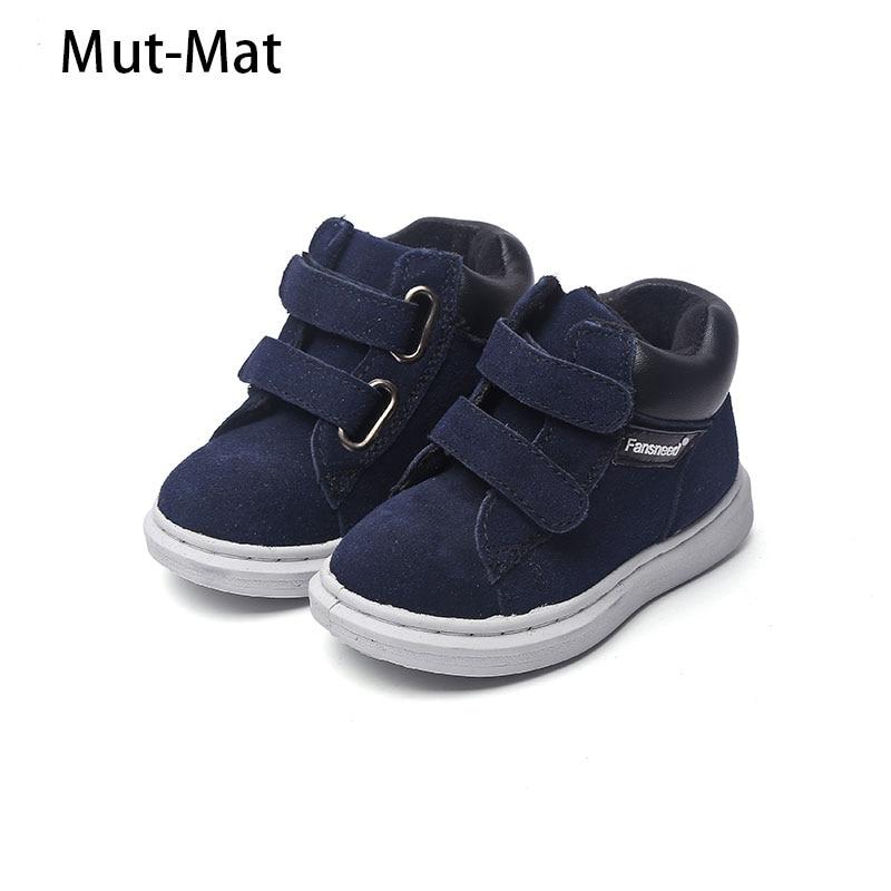 Gloednieuw echt leer bovendeel schoenen enkele jongens en meisjes casual schoenen laarzen kind laarzen baby schoenen