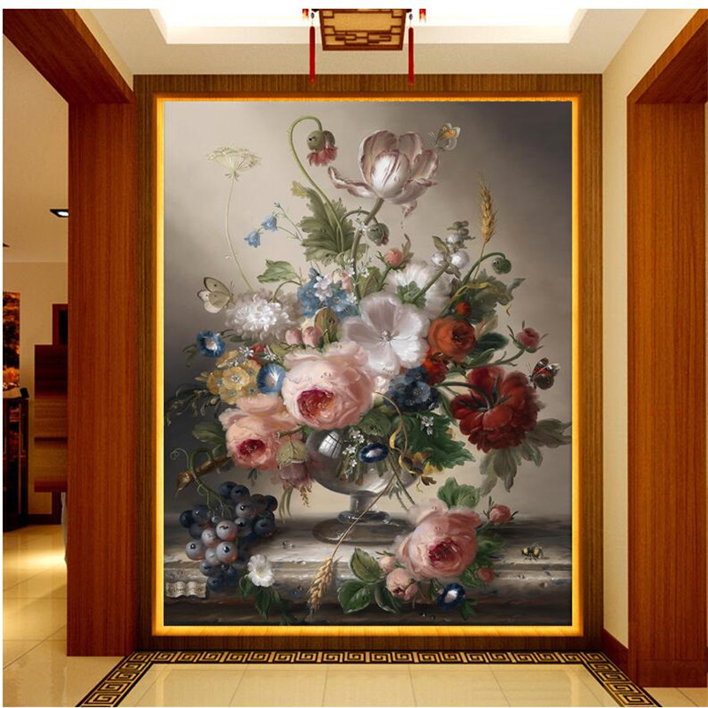 Beibehang Wallpapers Quality Flash Silver Cloth Simple Romantic Living Room Bedroom Decorative Painting Noble Vase Mural