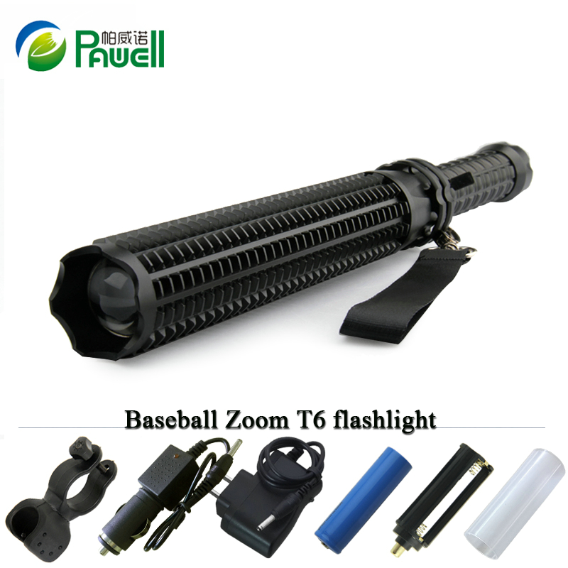 Lanterna Powerful Telescoping Cree Xml t6 Led Torch Tactical Flashlight Baseball Bat Baton Flash Light Self Defense 18650