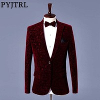 PYJTRL Men Autumn Winter Wine Red Velvet Floral Print Wedding Suit Jacket Slim Fit Blazer Designs