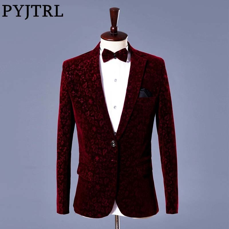 PYJTRL Men Autumn Winter Wine Red Velvet Floral Print Wedding Suit Jacket Slim Fit Blazer Designs Stage Costumes For Singers