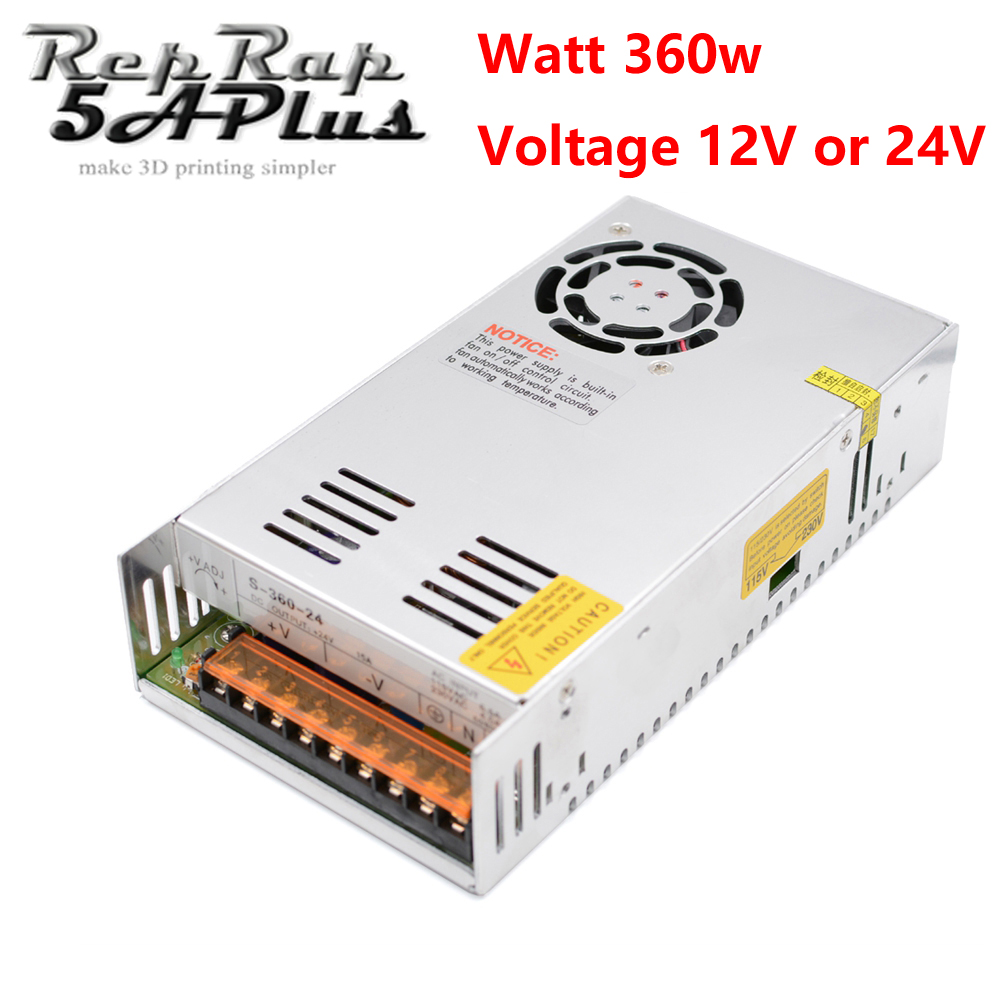 Switching Power Supply 360 Watt 24V/15A 12V/30A for Reprap i3 Kossel Detal 110V/220V 3D Printer Power Source Wholesale