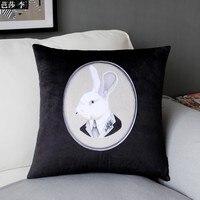 Mr. Bunny Copertura Cuscino di Velluto Designer Decorativa Federa Cuscino Divano Cuscini di Seduta di Alta Qualità A Casa Decorazione di Arte del Regalo