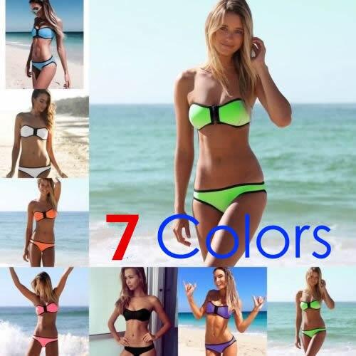 comprar popular a623d a3930 € 7.91 |2015 marca moda de baño mujer neopreno sin tirantes trajes de baño  triángulo bikini traje de baño de cintura alta swimsuit trikini mujeres en  ...