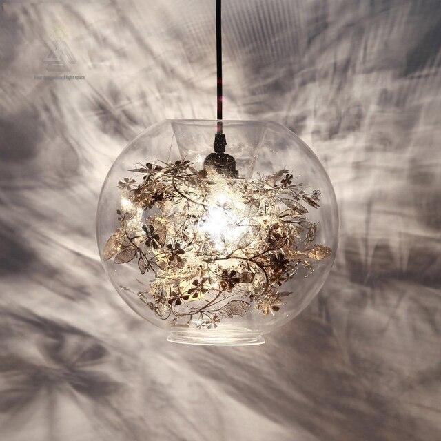 Creative Led Modern Tangle Globe Flower Light Pendant Lamp Ac 90 260v Gl Novelty Lighting Fixture For Bar Restaurant Bedroom
