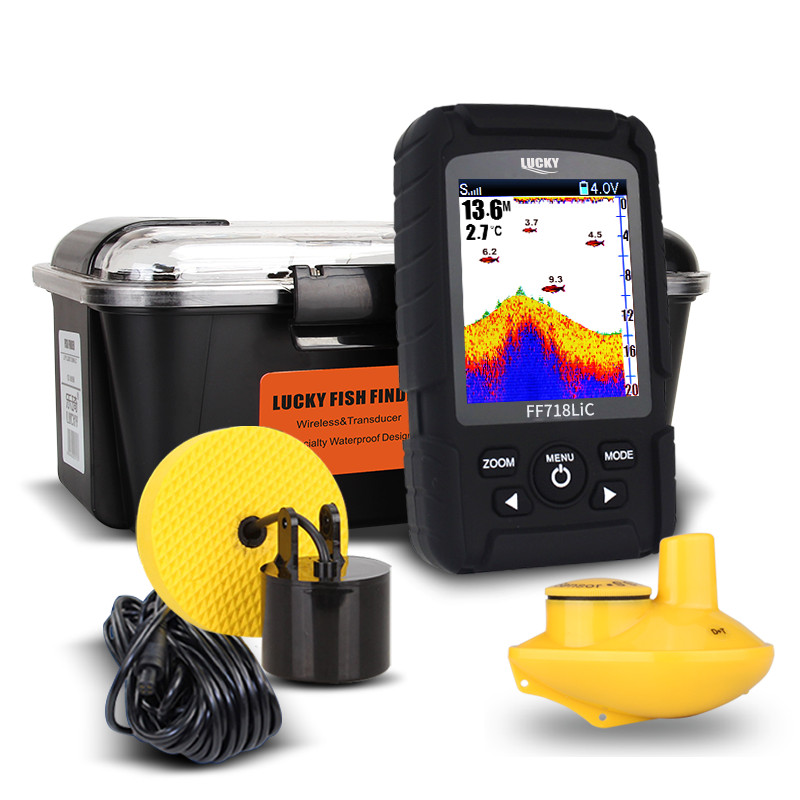 328ft /100m Wired & Wireless depth Fishfinder Sonar Transducer 2-in-1 Sensor Portable Waterproof Fish Finder Fishing FF718LiC lucky 2 in 1 wired 100m and 40m wireless boat fish finder fishing sensor sonar transducer mode built in water temperature sensor