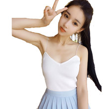 Women Sexy V-neck Spaghetti Strap Short Crop Nice Summer Knitted Camis Brief Cropped Pops Fashion Sleeveless Tanks Camisole Pops