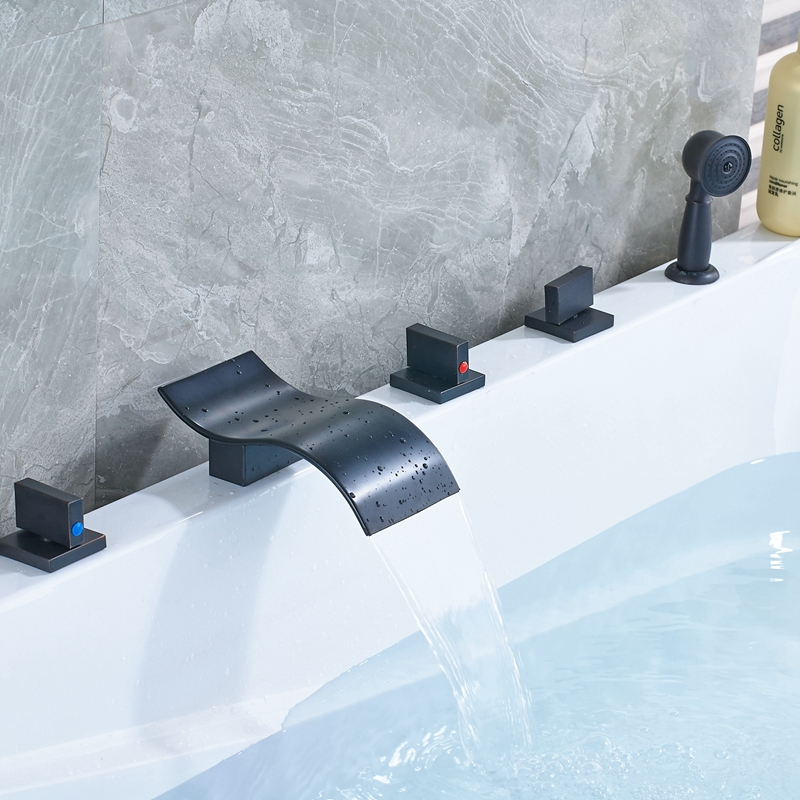 Newly Arrival Waterfall Oil Rubbed Bronze Shower Bath Faucet Tub Mixer Tap Deck Mounted